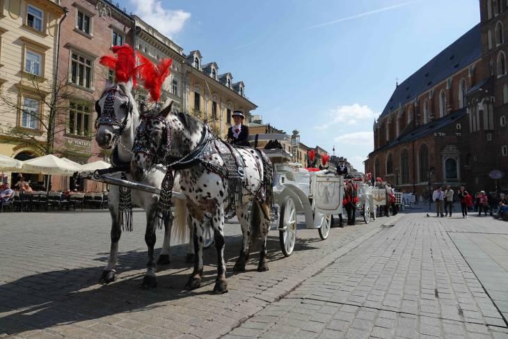 Prachtige koetsjes in het oude centrum van Krakau.