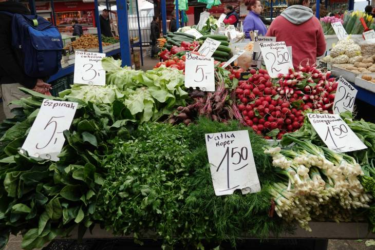 Verse groenten op de lokale markt.