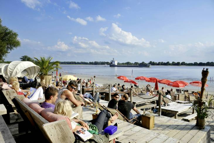 Elbstrand in de 'gentrificatie'-wijk Ottensen.
